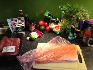 Ingredienser till Chiligryta och Asiatisk lax