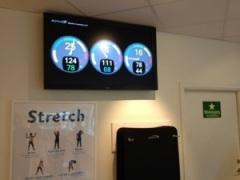 Activo display i träningslokalen