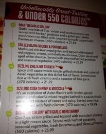 Low calorie meny