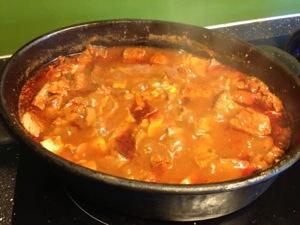 Ska koka i minst tre timmar=sen middag