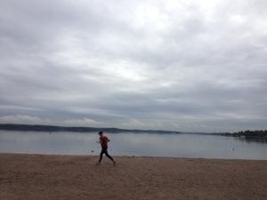 Ungefär i mitten av milen fanns Näsbyviken.