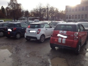 En bråkdel av EU-mopparna på parkeringen